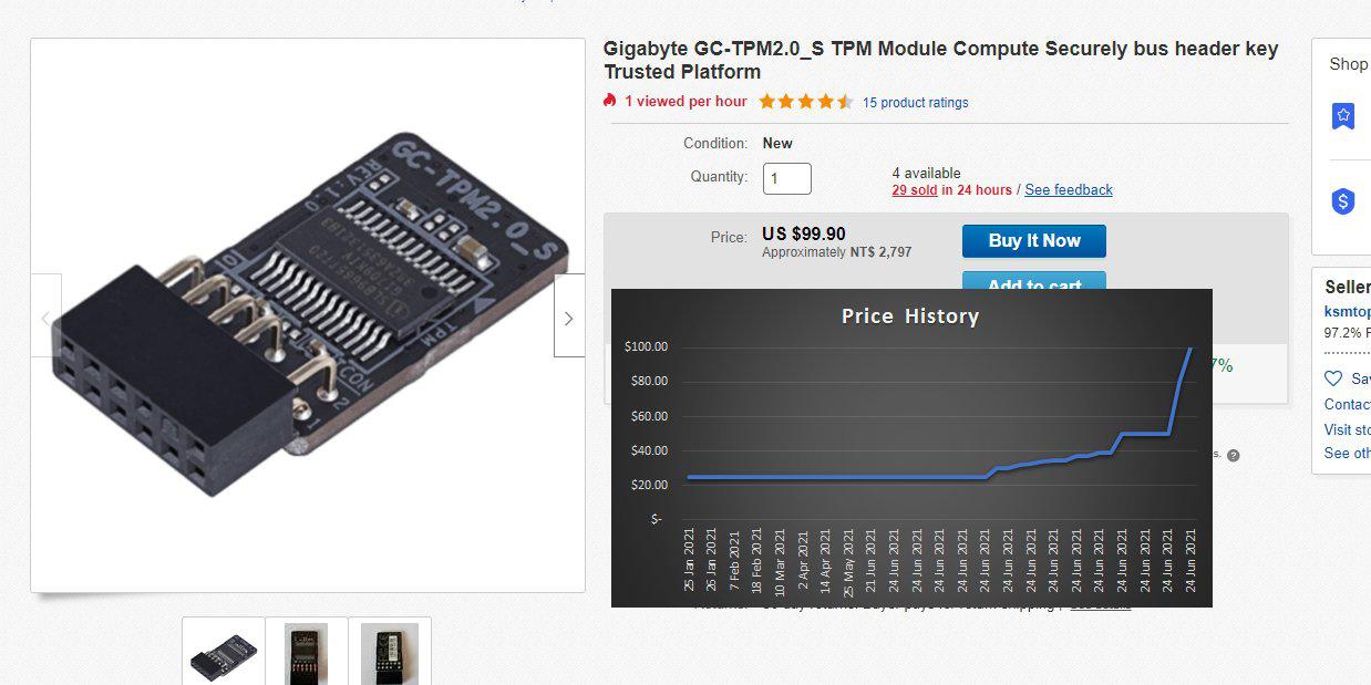 海外TPM2.0模塊價格暴漲