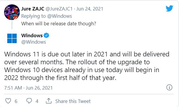 Windows 10 設備的 Windows 11 升級將在 2022 年開始