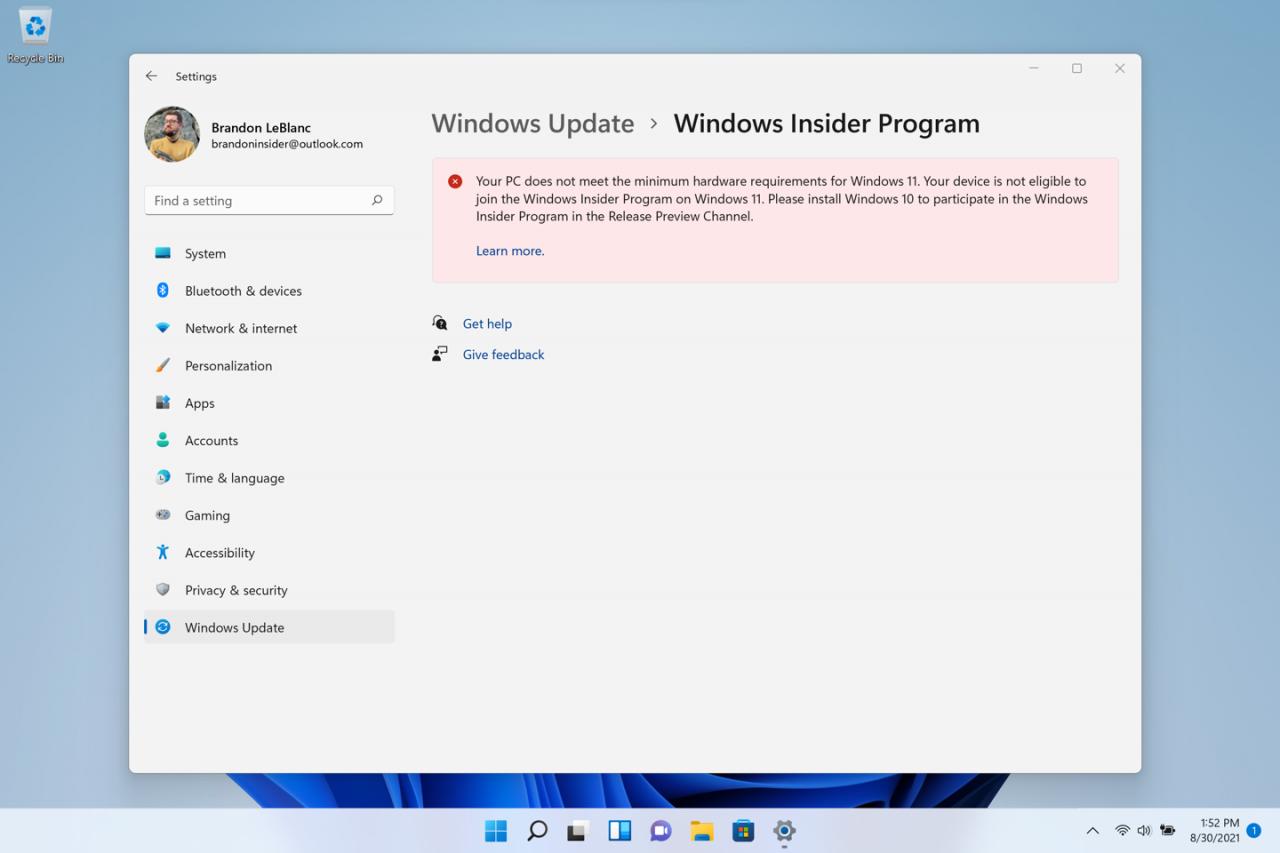 不符合條件卻安裝 Windows 11 預覽版 PC 上的個人電腦上的通知